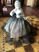 "Beautiful Vintage Porcelain Half Doll Pin Cushion 7"" Tall Silk, Lace & Flowers"