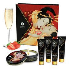 Shunga Geisha Sparkling Strawberry Wine | Erotic Art Massage Oil Candle Gift Set