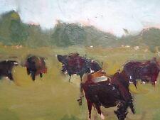 Gemälde Öl attr. Theophile Steinlen-  Kühe in Landschaft