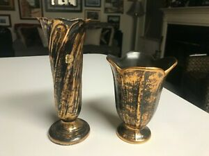 LOT of 2 VINTAGE Stangl Pottery BLACK GOLD HANDLED VASES in EXCELLENT CONDITION