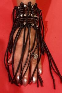 Raviani Hair on Cowhide Leather Bracelet W-Fringe  & Crystals (Made In USA)