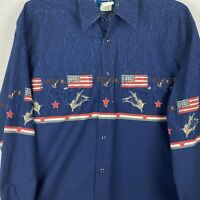 Wrangler Western shirt; long sleeve; Sz LG; rodeo; pearl snap. USA, Stars, Blue