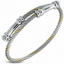 Bracelet Cuff Stainless Steel Cable Twisted, 2 Tones, With Bits Coast