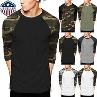 Mens Baseball Raglan T Shirts 3/4 Sleeve CAMO Tee Casual Basic Hipster Sports