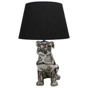 Silver Table Lamp Bulldog Pug Style with Black Fabric Shade Chrome plated base