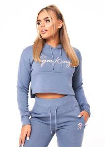 Gym King Womens Hoodie Crop Fleece Lining Casual Fashion Style Blue WHD-B24TP