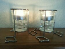 New Listing2 Candle Holders Metal Stand w/ Hemingray Clear Glass Insulators