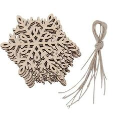 10 Unfinished Wood Shapes Wooden Cutouts Snowflake Christmas Tree Decoration