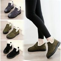 Women Flat Casual Warm Thicken Ankle Boots Slip On Splice Winter High Top Shoes