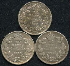1917 1918 & 1919 Canada 10 Cent Silver Coins (2.32 Grams .925 Each)