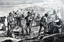 South Africa 1870 WASHING DIAMONDS DIAMOND FIELD MINING MINERS Print Engraving