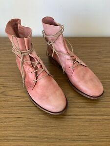 Cos x Jo Mercer Soft Leather Boots Pale Pink Lace Up 8
