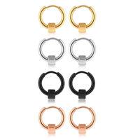 18ga Stainless Steel Tube Helix Hexagonal Ear Stud Hoop Huggie Piercing Earrings