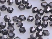 50pcs 6mm Bicone Faceted Crystal Glass Charms Loose Spacer Beads Findings Leaden