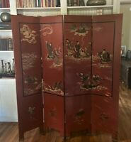 """Vintage Chinoiserie Oriental Red & Black Lacquer Room Divider Floor Screen - 72"""""""