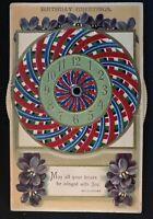 Mechanical Kaleidoscope Clock Birthday Antique Greetings Postcard~Unused-a450