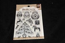 Christmas holiday Festive  acrylic stamps BoBunny 19 pieces tree reindeer presen