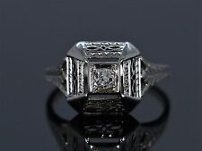 14K White Gold Round Old Miner Cut 0.13ct SI Diamond Engagement Ring Band Size 7