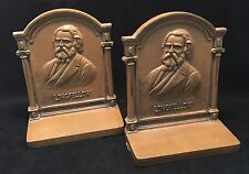 Bradley Hubbard B&H Cast Iron Bookends Henry Wadsworth Longfellow Poet c.1925