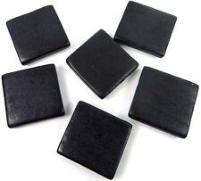 6 Wood Flat Square Beads 30mm - Black