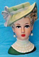 "VINTAGE HTF 6-3/4"" RELPO 2054 VICTORIAN LADY HEAD VASE HEADVASE NEAR MINT MARKED"