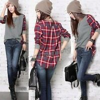 1pc Fashion Women's Plaid Checked Long Sleeve Casual Loose T shirt Tops Blouse