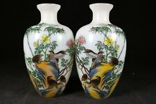 Beautiful chinese famille rose glass colored glaze vases