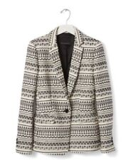 Women's Banana Republic Print Jacquard Black And White Jacket Size 8