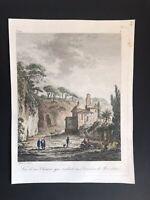 XIX secolo Incisione Cava Napoli Grotte Di Posillipo Richard de Saint-Non