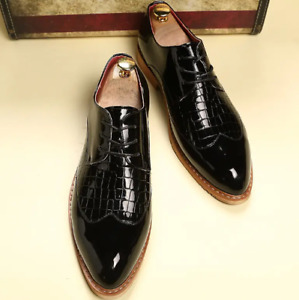 Mens Patent Leather Bullock Shoes Nightclub Flat Pumps Casual British Style Plus