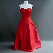 Custom 100% Raw Silk Two Tone Electric Fuchsia Strapless Ball Gown Long Dress M