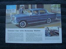 1960 Mercedes Benz 190D Sales Sheet Heckflosse Finback Brochure Prospekt