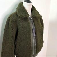 Women's NWT Blank NYC Faux Fur Teddy Bomber Jacket Sz S Olive
