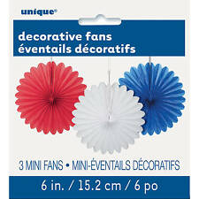 PACK OF 3 MINI PAPER FANS RED WHITE & BLUE PARTY HANGING DECORATIONS 15.2CM