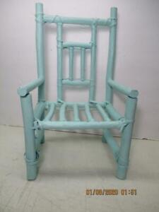 """Vtg Child's Bamboo Handcrafted Small Chair For Infant, Doll, Teddy Bear 15"""" Tall"""