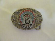 Rare Vintage SSI Native American Indian Chief Belt Buckle Turquoise Coral