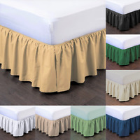 """1PC BEDDING DRESSING BED PLEATED SKIRT WITH OPEN CORNERS 14"""" DROP SIZE CAL-KING"""