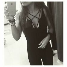 ZARA BLACK CROSSED STRAP LACE UP FLOWING JUMPSUIT SIZE SMALL