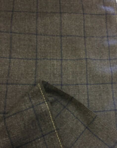 4 Metres Charcoal Grey With Blue Check 100% Wool Fabric. Woven In England