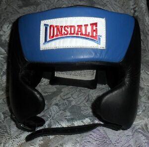 NIP Lonsdale Amateur Competition Headgear Head Guard US Boxing Specs Blue Size L
