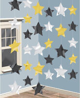 Star hanging strings Decoration Gold Black Silver Hollywood Party Prom Oscars
