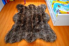 Brown Mountain Coyote Fur Faux Fur Rug 5' x 7' Large Area Rug Wolf Animal Skin