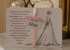 MUM-Mother of the Bride Thank You Card-Keepsake-Wedding-Personalised-White Card