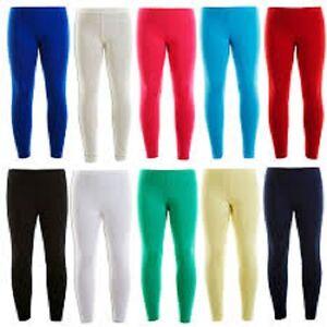 Girls Full Length Plain Cotton Leggings Kids Children Gym Dance Size 3-13 years
