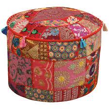 Bohemian Round Floor Pillows Indian Ottomans Throw Pouffe Patchwork Poufs Cover
