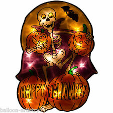 49cm Happy Halloween Party SKELETON Light Up Silhouette Window Decoration