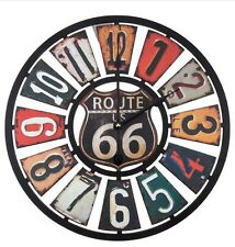 Route 66 Clock Vintage Style License Plate Gas Oil Pump Garage Wall Decor NEW