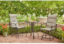2 Chair Steel Outdoor Living Bistro Set | Patio Furniture W Table / Chairs  Metal