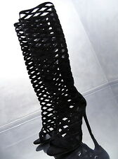 NEU 2017 HOHE LANGE SCHWARZ STIEFEL Plateau Damen Boots N74 Schuhe High Heels