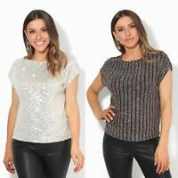 Womens Ladies Sequin Glitter Blouse Boxy Party Top Evening Lurex Tunic Batwing